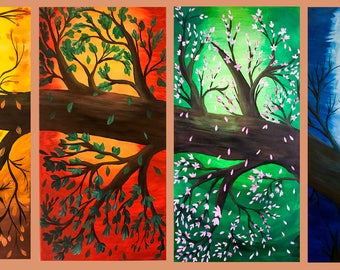 "Tree Season's - 4 Panels (Each 24""x12""x1"") - Winter, Spring, Summer & Fall"