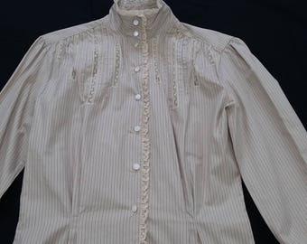 vintage Ralph Lauren Neiman Marcus Blouse 80s Prairie Edwardian Top Polo Cotton sz 8