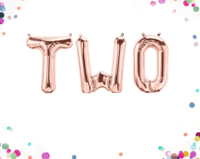Two Balloon Rose Gold, One Balloon, Two Year Old Birthday Banner, Two Balloons, Second Birthday Balloons, Two Letter Balloons