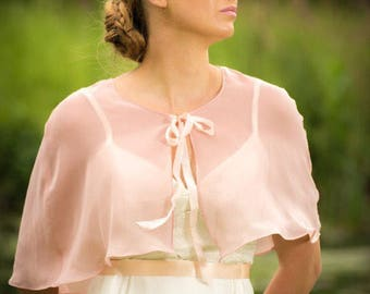 Antique Rose Cape - Chiffon Bridal Capelet - Wedding Cape - Bridal Cover Up - Bridal Shawl -Blush Capelet - Capelet