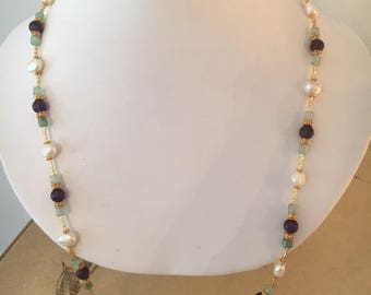Amethyst, Jade, Gold and Freshwater Pearl Necklace