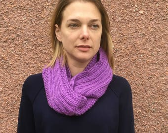 Hand Knitted Infinity Scarf- Purple Scarf-Chunky Wool Scarf-Never Ending Scarf-Made In Scotland-Eternal Scarf-Fashion Scarf