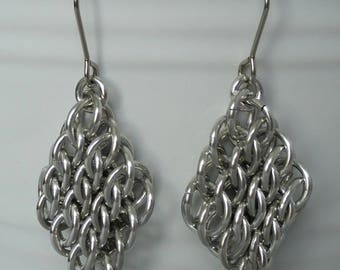 Half Persian GSG Sheet Chainmaille Earrings,Diamond Shaped Earrings,GSG Earrings,HP3 6-1 Sheet Earrings,Chainmaille Earrings,Unique Earrings