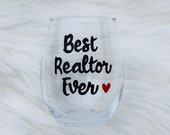 Best Realtor Ever handpainted wine glass/Realtor closing gift/Realtor gifts/Real Estate Agent gifts/Realtor mugs/real estate agent mugs