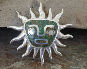 Miguel Melendez ~ Vintage Taxco Sterling Silver and Crushed Stone Sun Face Pendant / Pin / Brooch - 36 Grams