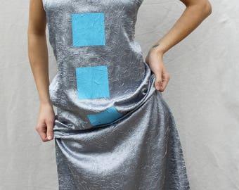 Summer dress Maxi long dress Grey blue dress Geometric print dress Maxi slit Minimalist Sleeveless dress Women's long dress Grunge dress
