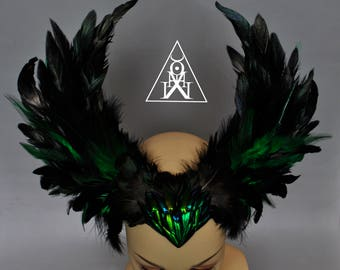 Emerald wings - gothic headpiece -  gothic headdress - feather headpiece - black wings - wings headpiece - wings headdress