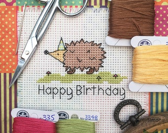 Hedgehog Happy Birthday Cross Stitch Pattern