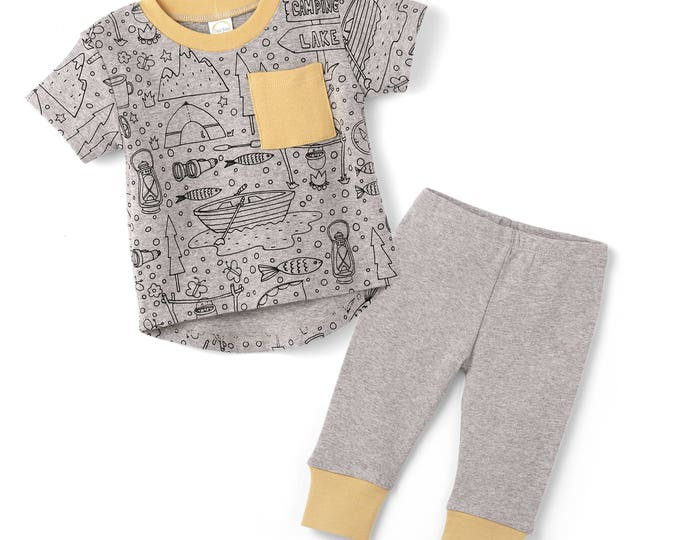 SPRING SALE! Baby Boy Outfit, Baby Boy Short Sleeve Outfit, Baby Boy Leggings, Newborn Boy Outfit, Happy Camper  TesaBabe