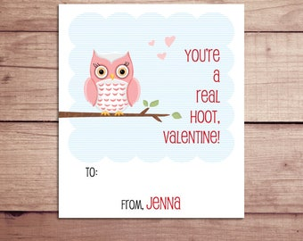 Owl Mini Notes - Owl Valentine's Day Cards - Owl Lunchbox Notes - Owl Flat Mini Notes - Children's Valentines - Teacher Valentines
