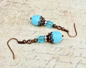 Blue Earrings, Aqua Earrings, Light Blue Earrings, Copper Earrings, Czech Glass Beads, Womens Earrings, Blue Dangle Earrings, Copper Jewelry