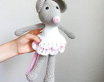 Crochet Mouse Amigurumi Mouse Crochet Toy Mouse Plush Handmade Stuffed Animal Ballerina Mouse Crochet Stuffed Animal Grey Mouse