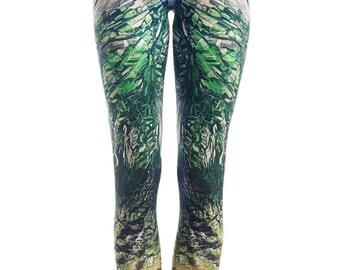 Kazakhstan Fields - Printed Leggings / Patterned / Green / Satellite image / Mountains print / Yoga Pants / Elegant Leggings / Statement