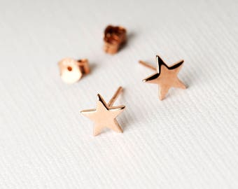 Star Stud Earrings On A Customisable Gift Card, Bridal Jewellery, Birthday present, Sterling Silver, Gold Plated, Rose gold, Gift for Her