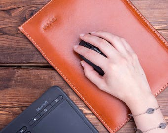Leather Mouse Pad, Leather Mouse Mat, Tan leather Mouse pad,  Leather Desk Mat, Vegetable Tanned Leather, Full Grain Leather, Back to School