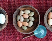 Pheasant eggs one inch dolls house food. 12th scale Tudor dollhouse, Medieval castle kitchen, Colonial dollhouse rustic market scene