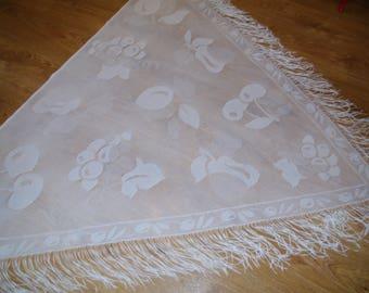 BIG Polish White Lace Shawl Fringes fruits cherries apple Disco era Shoulder Wrap Soviet Triangle Shawl Evening Wrap Boho Chic Shawl Wedding