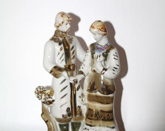 UKRAINIAN COUPLE Russian Soviet Porcelain Figurine Polonne Ceramic pair love Folk Ukrainian figurine collectible gift collector USSR 80's