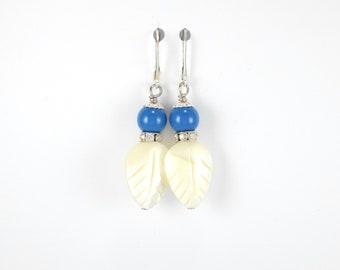 Pearl earrings, blue earrings, white earrings, mother of pearl jewelry, swarovski pearl earrings, dangle earrings