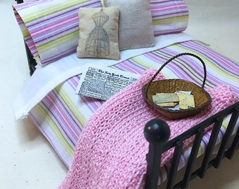 Miniature Dollhouse Duvet Bedding Set - Pink & Lavender Stripes -Queen/Double