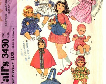 Vintage 1972 McCall's pattern #3430 Baby Doll Wardrobe and Carrier