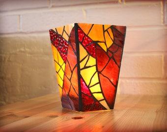Purple Stained Glass Vase/Candleholder, Mosaic Candle Holder, Purple Stained Glass Vase