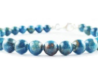 Bracelet blue Apatite and 925 sterling Silver HAMMAKER