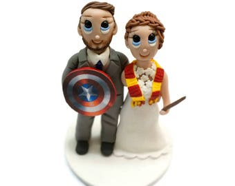 Custom Wedding Cake Topper with Captain America Shield and Harry Potter Inspired Gryffindor Scarf and Wand
