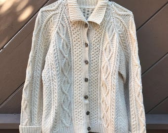 Vintage 60s Cableknit Fisherman's Cardigan Sweater