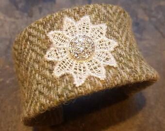 SALE Green Herringbone Harris Tweed Cuff Bangle with Druzy Snowflake
