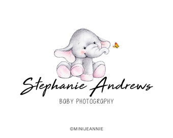 Elephant logo-Animal Logo-Baby Photography Logo-Baby Animal Logo-Photography Logo-Premade logo-Etsy Logo-Hand drawn Logo-Branding