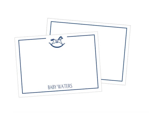 Baby boy rocking horse stationery set