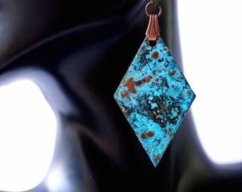Copper Patina Earrings, statement earrings, geometric earrings, turquoise earrings, patina jewelry, copper jewelry, artisan earrings