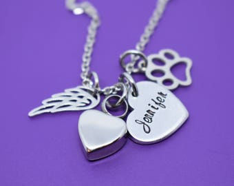 Pet Urn - Cremation Necklace - Pet Memorial Gift - Personalized Pet loss Gifts Necklace - Dog - Cat - Jewelry - Dog Remembrance - Fur Baby