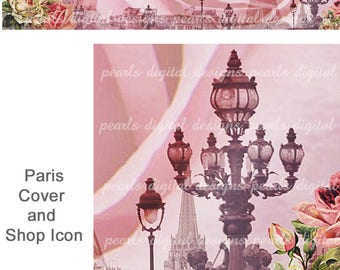 Paris Faded Rose, Cover banner and Shop Icon, Instant download, blank files, Paris street lights, roses, vintage theme, pink, Eiffel tower