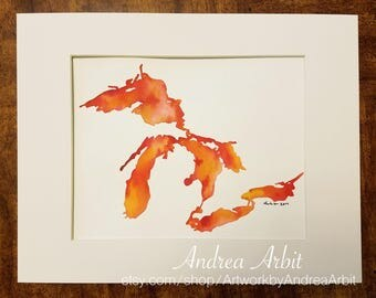 "8""x10"" Original Watercolor Painting - ""The Great Lakes in Pink & Orange"""
