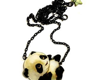 Giant Baby Panda Bear Necklace, Animal Lovers gift,  Acrylic Plastic, white and black, Brass statement Jewelry, Wild Animals, Nature lovers
