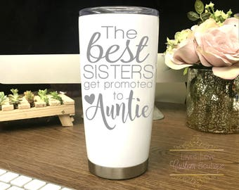 Promoted To Auntie - Aunt Coffee Mug - Engraved - Dishwasher Safe - Auntie Mugs - Gift for New Aunt - Announce pregnancy to Sister Mugs
