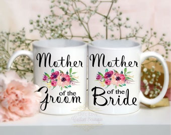 Mother of the Bride - Mother of the Groom - Wedding Mugs - Gift Set - Coffee Mugs - Dishwasher Safe - Floral Wedding gifts for Mothers