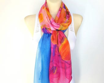 Blue Silk Scarf Long Silk Scarf Pink Silk Scarves for Women Silk Scarf Orange Scarves Spring Scarf Women 14 Gift Mom From Daughter from Son