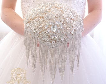 Champagne BROOCH BOUQUET. Bling cascading silver crystal  broach bouqet, unique jeweled cascade bouquet vintage style