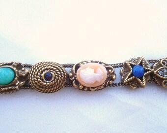 Vintage Victorian Revival Unsigned Goldette Slide Charms Rhinestones Carved Cameo Faux Gems Goldtone Bracelet Original Tag