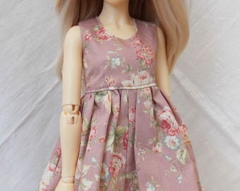 Pink rose print dress for MSD Minifee/Unoa, Slim Mini