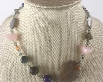 Amethyst, Smoky Quartz, Fresh Water Pearl Necklace