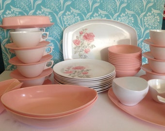 Pink Melmac dinnerware, Sun Valley Melmac,, Lenoxware, pink melamine dishes, melmac plates cups and saucers, 46 piece set