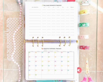 Half Size Planner Printable Monthly Budget Half Letter Expenses Tracker Bill organizer Planner Inserts Financial Pages Instant Download