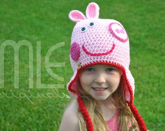 "Crochet Hat Pattern ""Pig"" by MLE Originals, Inspired by Peppa Pig Hat Pattern, Peppa Pig-Inspired Crochet Hat Pattern, Pink Pig Crochet Hat"