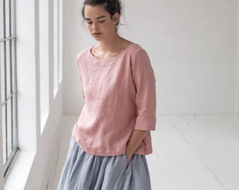 Washed linen top JANUARY in blossom/peach color