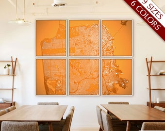 "San Francisco map, Map of San Francisco, 6 colors, 9 sizes up to 90x72"" Large SF map art in 1 piece or 6 parts - Limited Edition of 100"