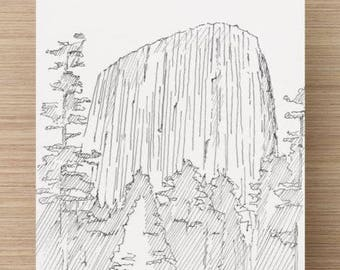 Ink Drawing of Devils Tower National Monument in Wyoming - Sketch, Art, National Park, 5x7, 8x10, Print, Trees, Pen and Ink, Climb
